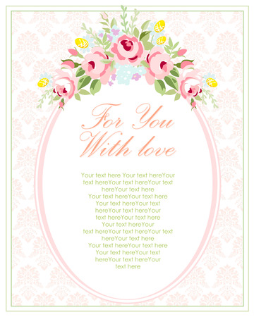 Wedding invitation card template with garden pink roses . Vector illustration in vintage style. Illustration