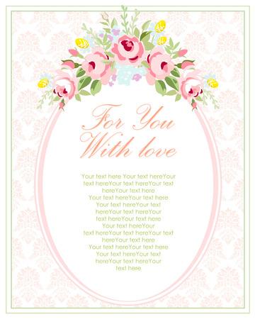Bruiloft uitnodiging kaart sjabloon met tuin roze rozen. Vector illustratie in vintage stijl.