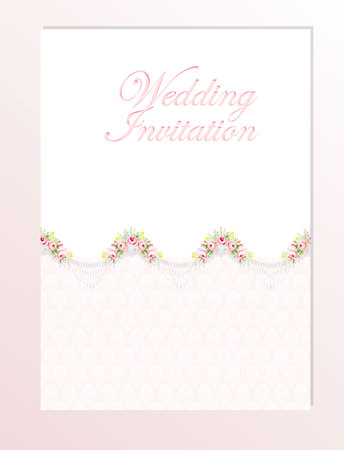 roses garden: Wedding invitation card template with garden pink roses . Vector illustration in vintage style. Illustration