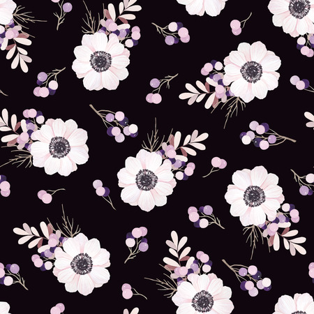 Vector seamless pattern with flower bouquet Anemone