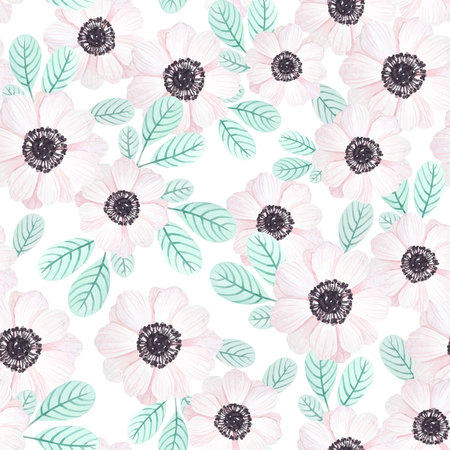 gray anemone: Seamless pattern with anemones and leaves in vintage watercolor style, vector illustration.