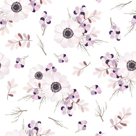 Wektor bez szwu z bukiet kwiatów Anemone
