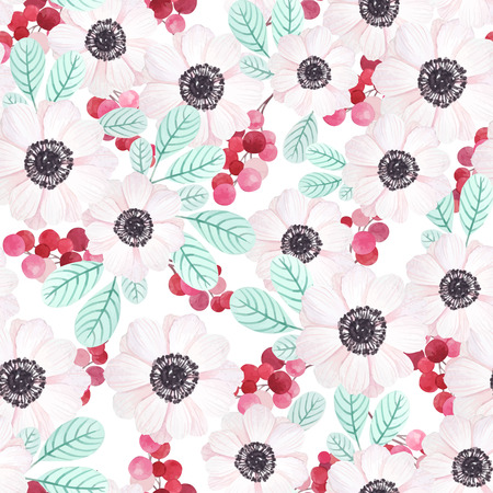 beige background: Seamless pattern with anemones, branches of red berries  and leaves in vintage watercolor style, vector illustration.