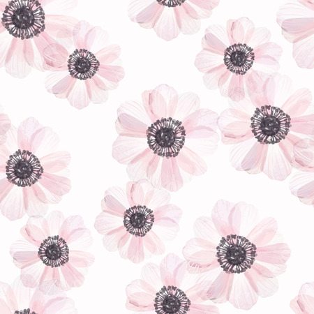 gray anemone: Seamless pattern with anemone in vintage watercolor style, vector illustration. Illustration