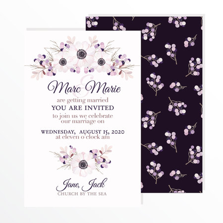 Invitación de boda con flores de la anémona, ramas y bayas en estilo de la acuarela de la vendimia.