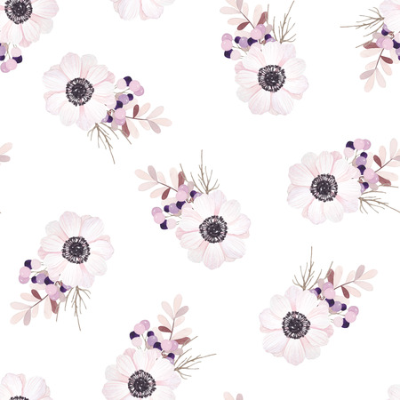 gray anemone: Vector seamless pattern with flower bouquet Anemone