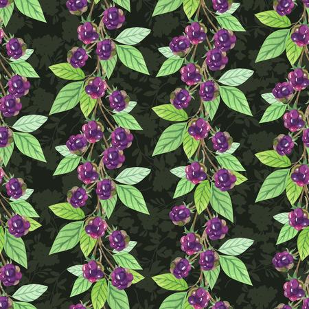 blackberries: Seamless pattern with branch blackberries in watercolor style, vector illustration.
