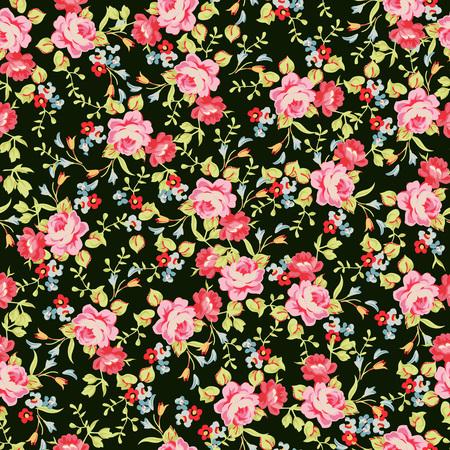 약간의 핑크 장미와 원활한 플로랄 패턴 일러스트