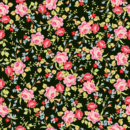 Seamless floral pattern with little pink roses Vettoriali