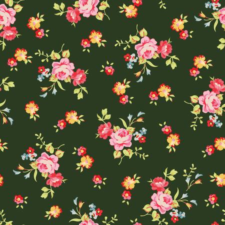 Nahtlose Blumenmuster mit kleinen rosa Rosen