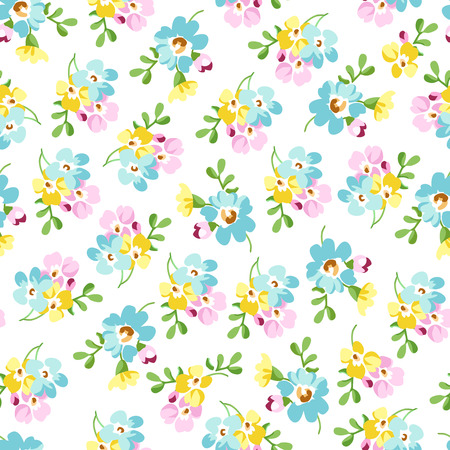small flowers: Seamless floral pattern with small blue flowers