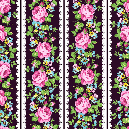 forget me not: Seamless floral pattern with pink roses, forget-me-not Illustration