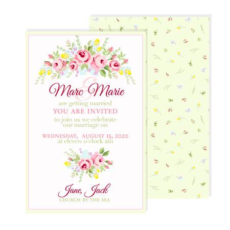 borde de flores: Tarjeta de felicitación floral con pequeñas rosas de color rosa Vectores