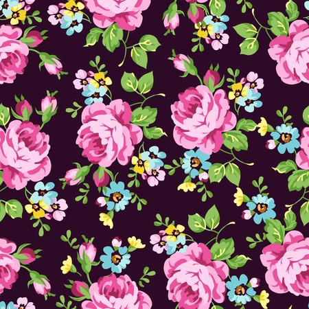 Sin fisuras patrón floral con rosas de color rosa sobre un fondo oscuro