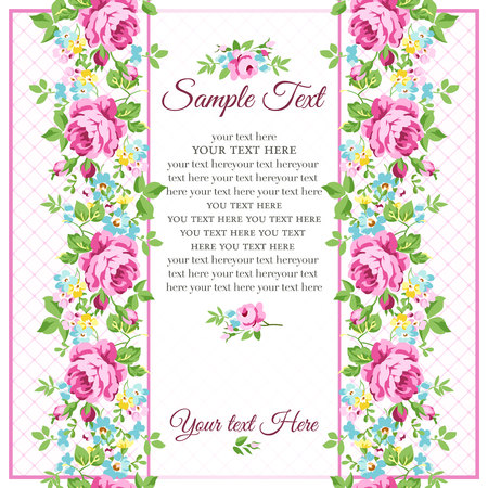 vintage rose: Greeting floral card with small pink roses