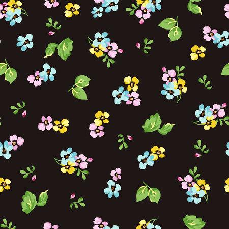 petites fleurs: Seamless floral pattern avec de petites fleurs bleues