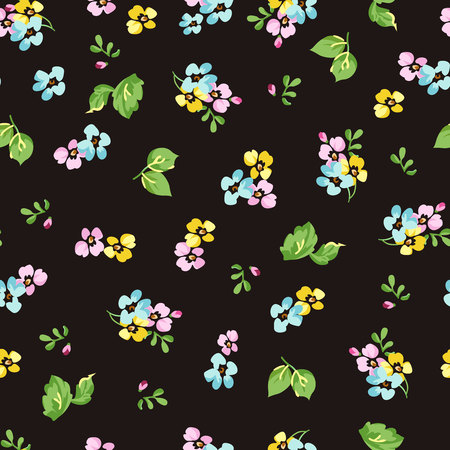 seamless floral: Seamless floral pattern with small blue flowers