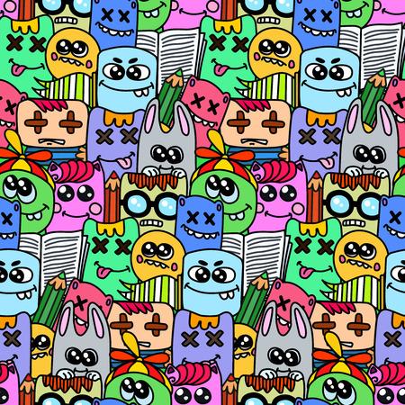 Nahtlose Muster mit bizarren Elemente und Charaktere. Vektorgrafik