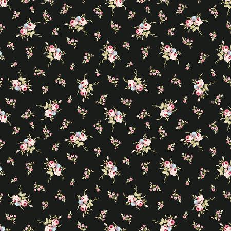 작은 장미와 원활한 플로랄 패턴
