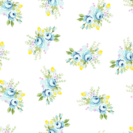 blue rose: Seamless floral pattern with big blue rose