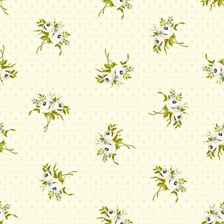 Naadloos bloemenpatroon met witte rozen Vector Illustratie