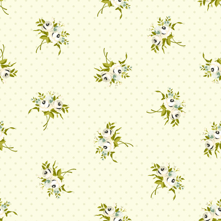 Seamless floral pattern with white roses Vettoriali