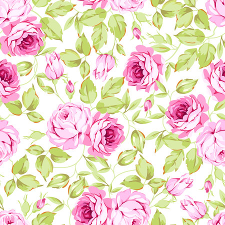 Seamless floral pattern with pink roses Illustration