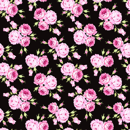 Seamless floral pattern with pink roses and leaves on black background
