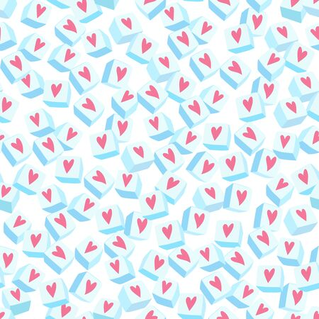 Seamless background with cute diced sugars and little hearts
