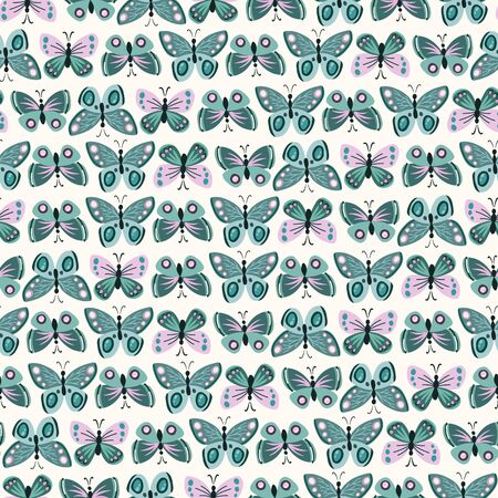 Seamless vector background with blue butterflies on a white fon