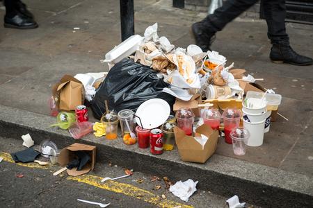 food package: FOOD PACKAGE WASTE IN STREET