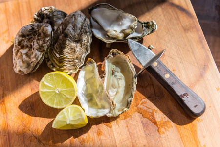 mother of pearl: Oysters ready to eat Stock Photo