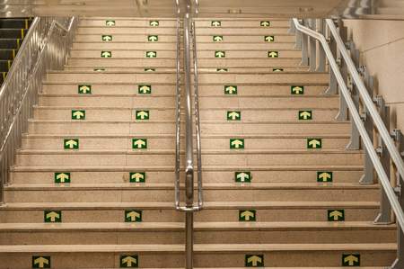 hand rail: public stair case from underground Stock Photo