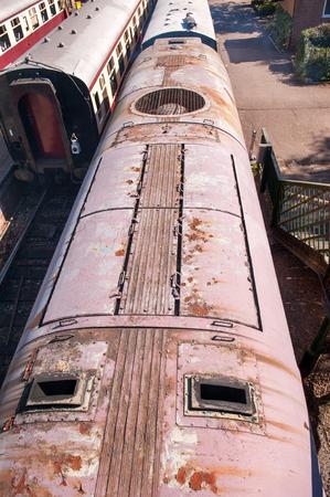 diesel train: roof top of vintage diesel train and exhausts
