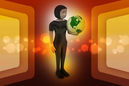 woman is holding world globe