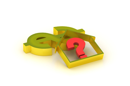 real estate business with question mark and dollar sign