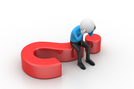 3d man sitting on a question mark Stock Photo