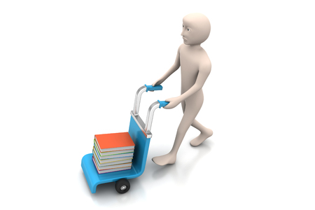 man with trolley for delivering books Stock Photo