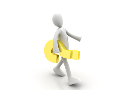 companionship: 3d people carrying  the question mark Stock Photo