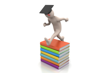 Student with hat Jumping of joy holding diploma. Фото со стока