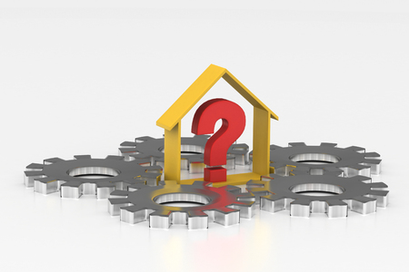 real estate business with question mark Stock Photo