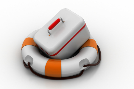 First aid kit with lifebuoy Stock Photo