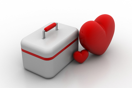 First aid kit with heart sign Stock Photo