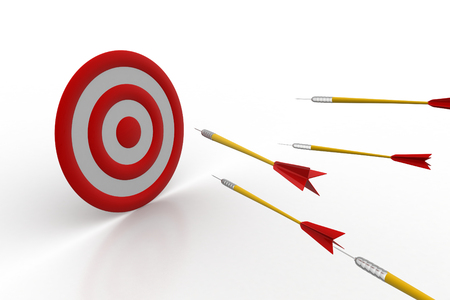Arrows hitting on the target board