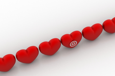 Red Hearts  with target icon