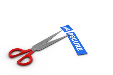 Scissors cut the word in secure