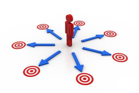 3d man aim the target Stock Photo