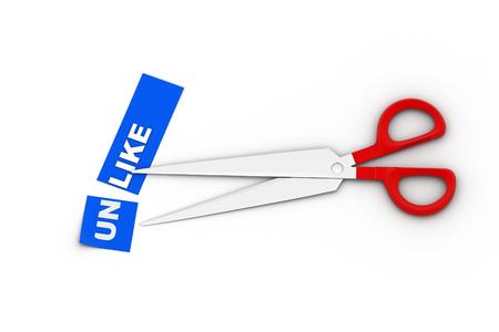 Scissors cut the word unlike
