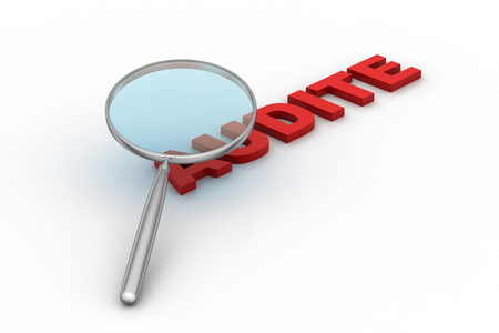 Mot d'audit sous une loupe Banque d'images - 89484328