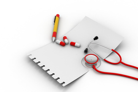prescription pad: Note pad with stethoscope and tablets